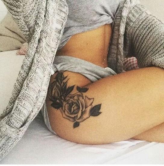 Thigh piece flower tattoo design ideas