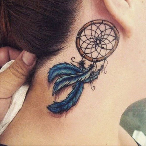 Simple dream catcher tattoo with blue feathers