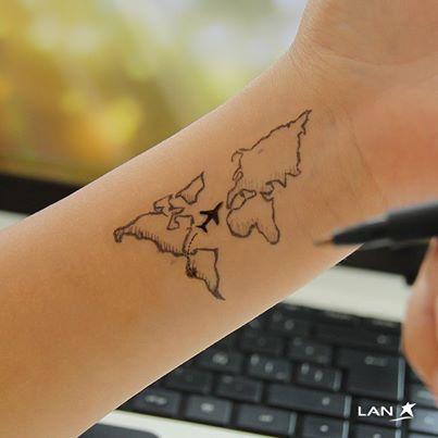 Wanderlust world map tattoos on wrist for women