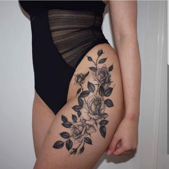 Rose tattoo thigh for women ideas