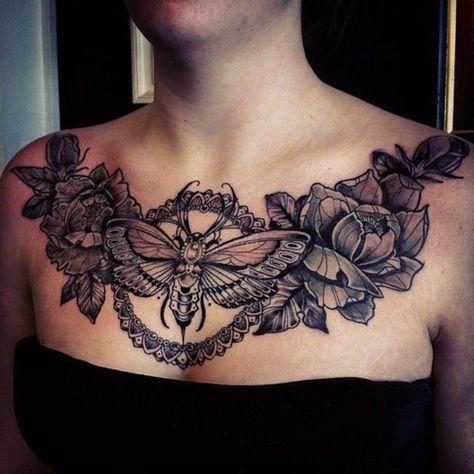 Amazing tattoo work moth tattoo design