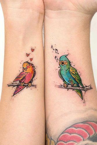 Budgerigars tattoo for couples