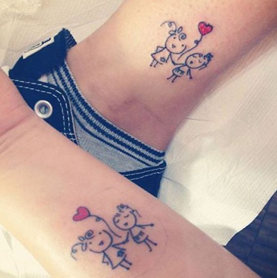 Cute couple tattoo for lovers