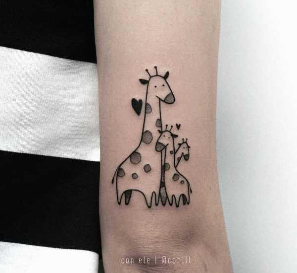 Giraffe family tattoo design on arm