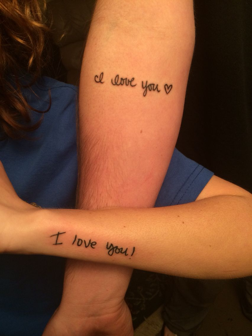 I love you tattoo for couple on arm