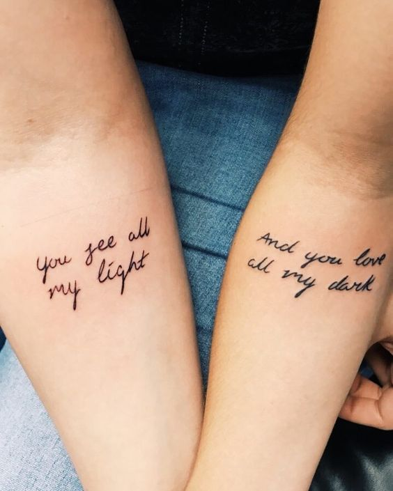 You see all my light..tattoo for lovers