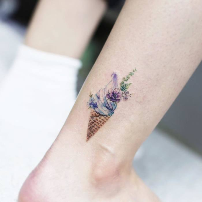 Colorful ice cream tattoo ideas for girls
