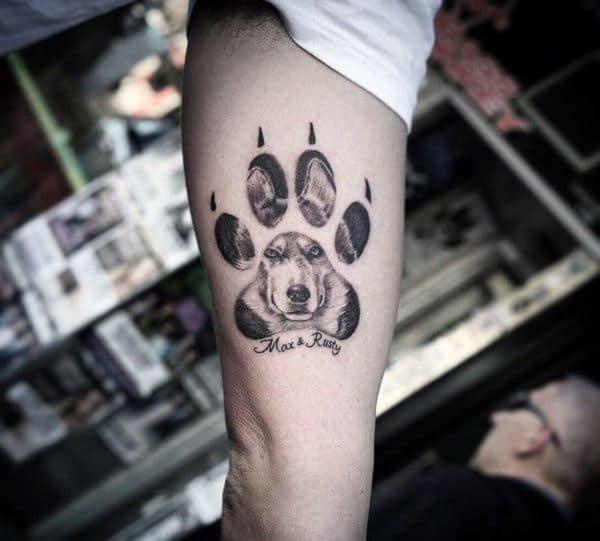 Arm bicep paw husky tattoo