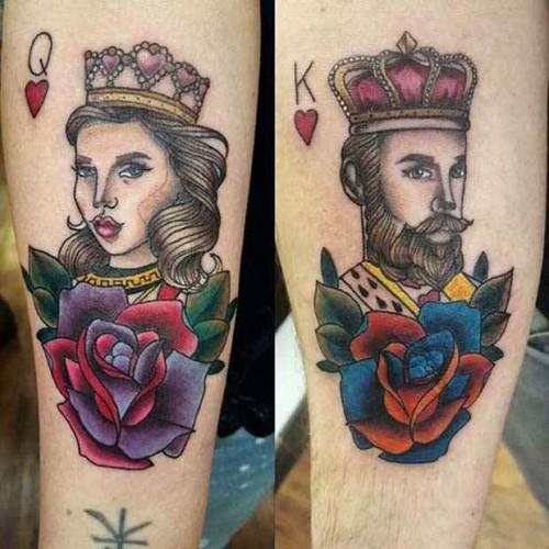 Colorful cartoon kong & queen tattoo