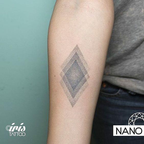 Geometric figure dotwork tattoo ideas