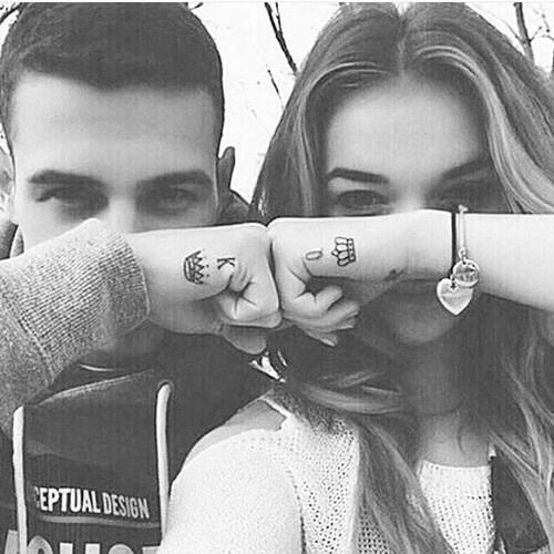 Love couple crown tattoo