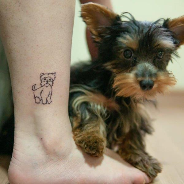 Simple Yorkshire Terrier tattoo on ankle