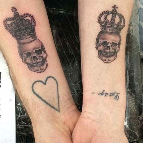 Skulls king and queen tattoo
