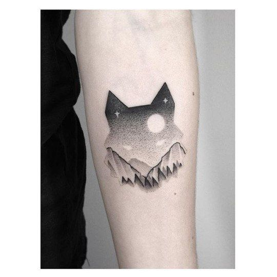Wolf dot tattoo on arm ideas