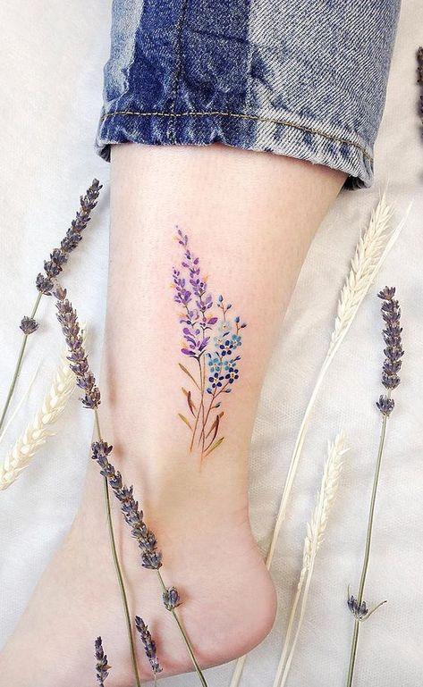 Ankle lavender tattoo ideas