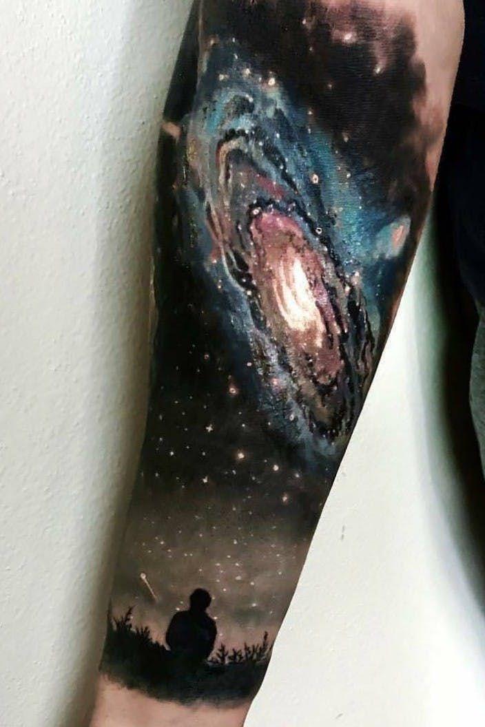 Black hole tattoo on arm