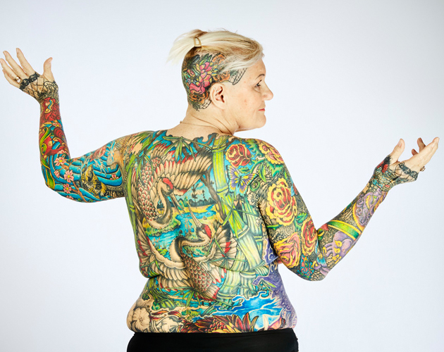 Colorful tattoo on ful body