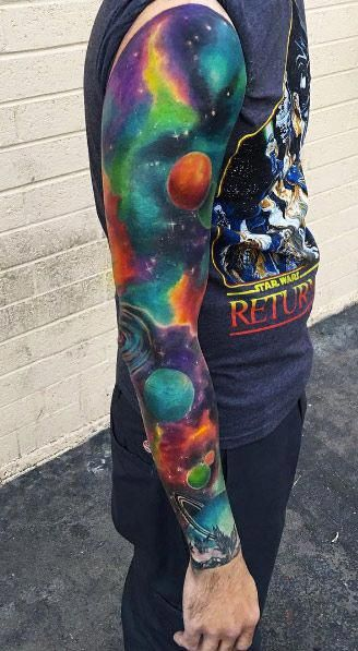 Galaxy and space tattoo full arm