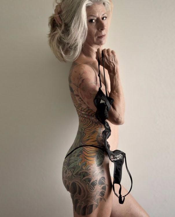 Grandma with tattoo on side
