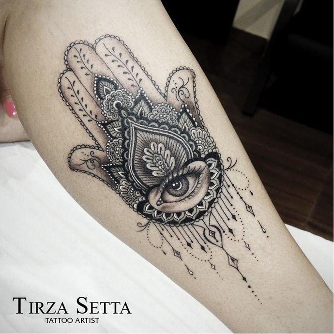Hamsa tattoo with lot of details