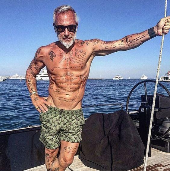 Hot tattooed senior man
