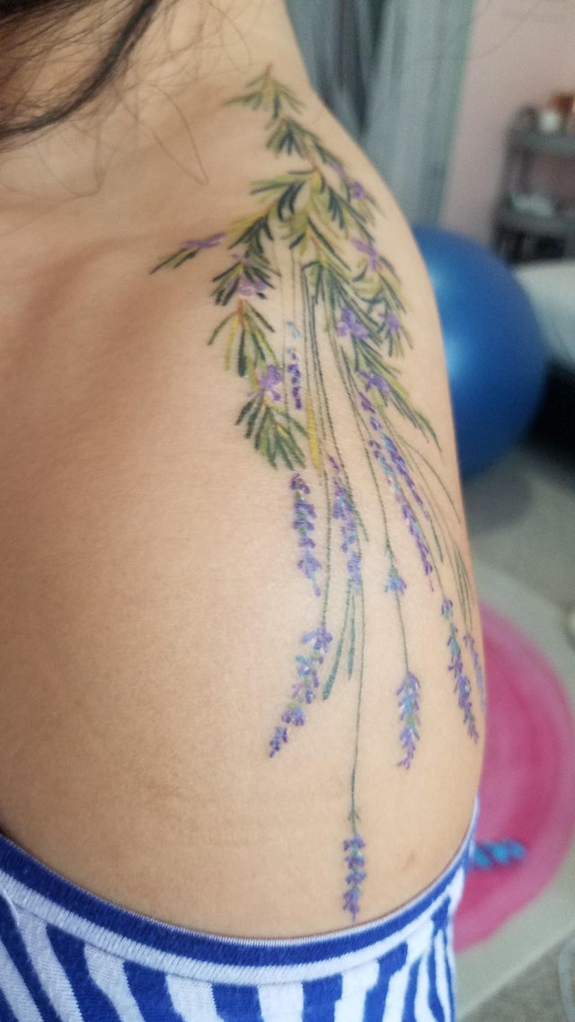Lavender and rosemary bouquet tattoo