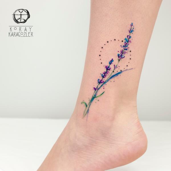 Lavender leg tattoo