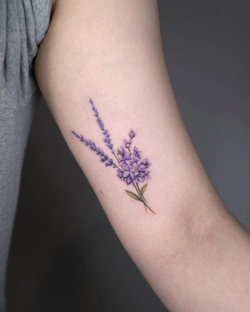 Lavender tattoo inner bicep