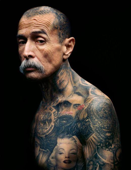 Senior man with his tattoo