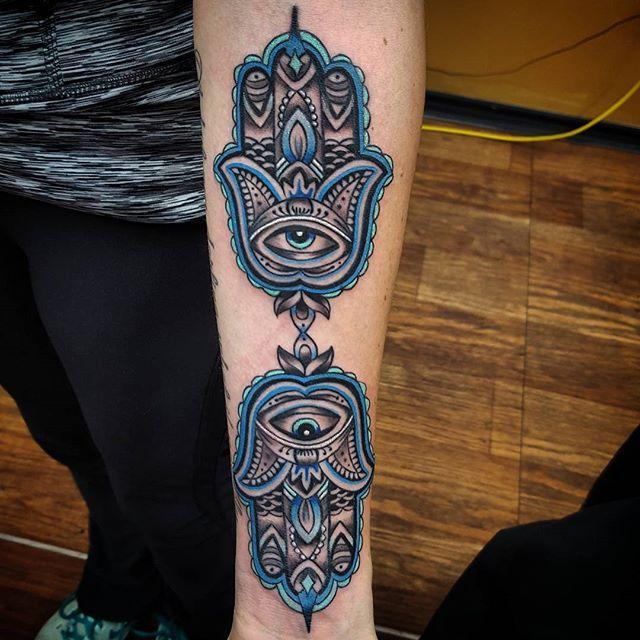 Two hamsa hands tattoo ideas