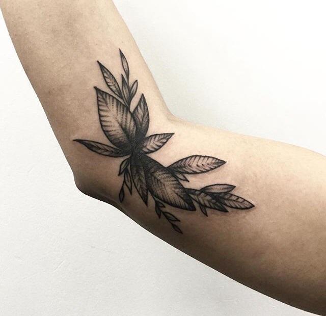 Original leaf tattoo on elbow