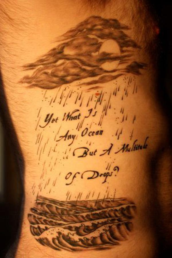 Rain thunder cloud tattoo