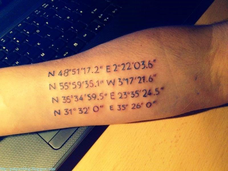 Coordinate number tattoo on arm