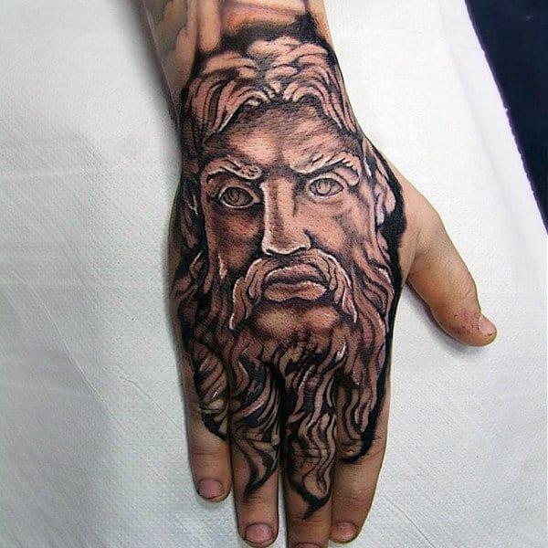 Hands greek god tattoo design