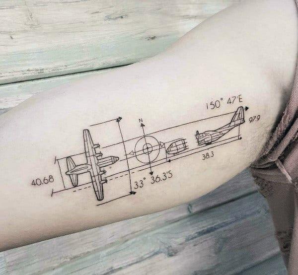 Plane and coordinates tattoo designs