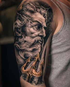 Zeus and the trident tattoo