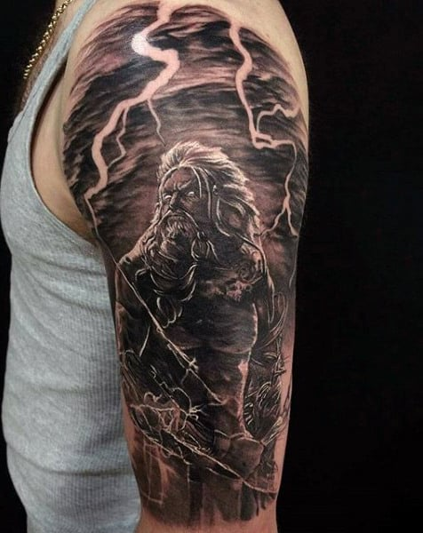 Zeus with lightening bolt tattoo