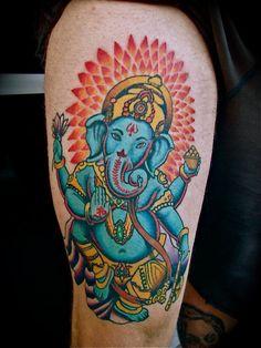 Blue Ganesha tattoo