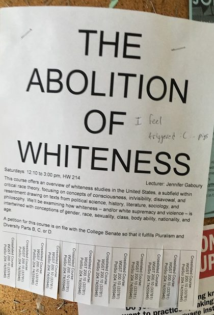 Hunter college racist class. Abolition of whiteness studies.