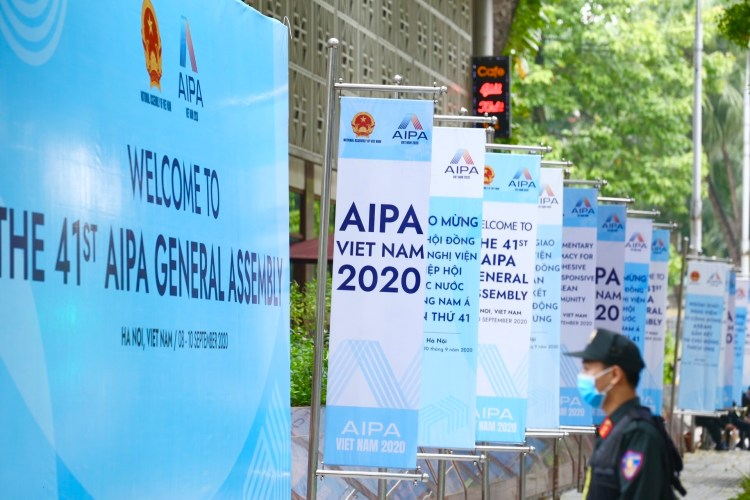 Panels and posters outside the AIPA 41's venue (Photo: VNA)
