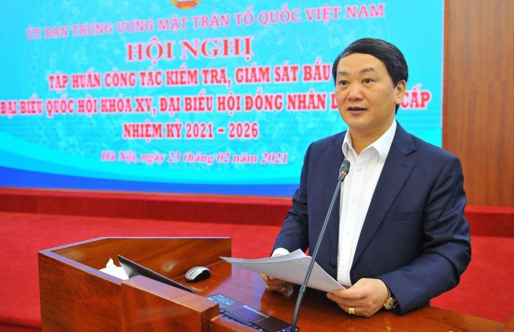 越共中央委员、越南祖国阵线中央委员会副主席兼秘书长、越南祖国阵线中央委员会选举工作指导委员会副主任侯阿令。图自越通社