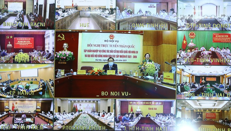 25 февраля 2021 года Министерство внутренних дел провело Национальную тренировочную конференцию по проведению выборов, в частности, выборов в регионах, где была зарегистрирована эпидемия COVID-19. (Фото: ВИА)