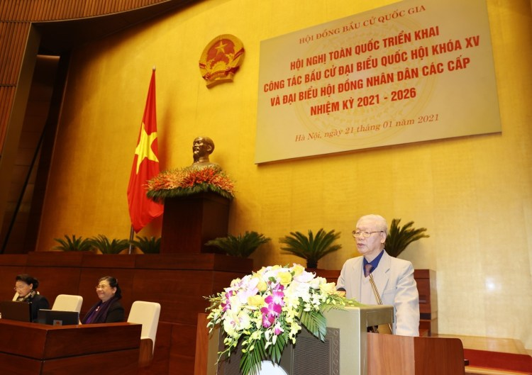 Party General Secretary and President Nguyen Phu Trong speaks at the national conference to carry out the election work. (Photo: VNA)