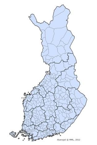 芬蘭行政區圖