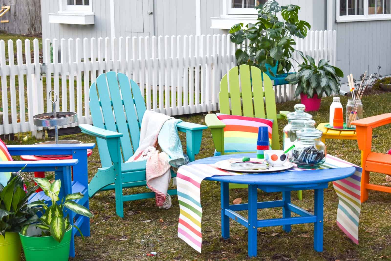 colorful patio furniture and s mores