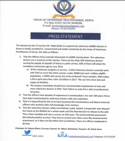 UVP Statement Rhino Deaths Kenya 1