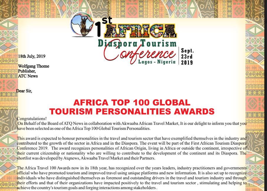 Akwaaba Travel Market and #ATQNews nominate ATCNews