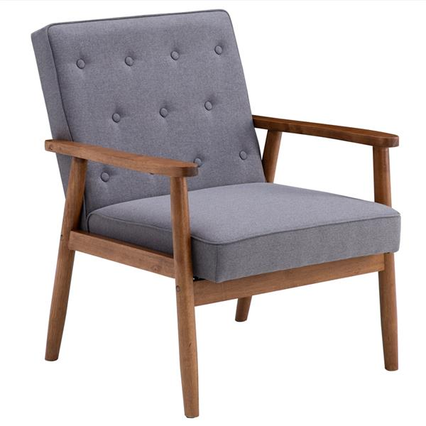 (75 x 69 x 84)cm Retro Modern Wooden Single Chair, Grey Fabric
