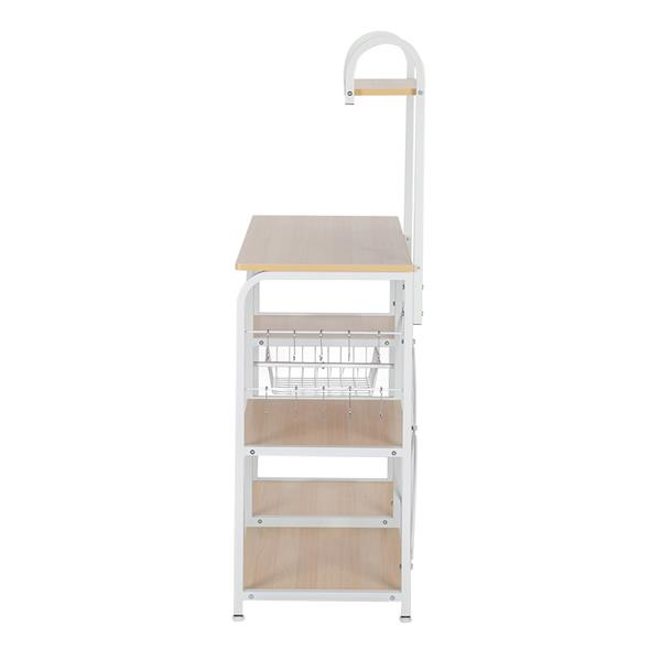 "Light Beige Kitchen Baker's Rack Utility Storage Shelf 35.5"" Microwave Stand 4-Tier 3-Tier Shelf for Spice Rack Organizer Workstation with 10 Hooks"