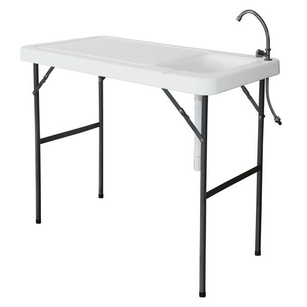 Folding Portable Fish Fillet & Hunting & Cutting Table with Sink Faucet